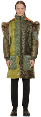 Moschino LONG QUILTED PATCHWORK PARKA