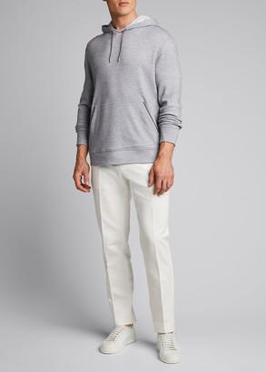 Ermenegildo Zegna Men's Regular-Fit Melange Cotton-Wool Pullover Hoodie