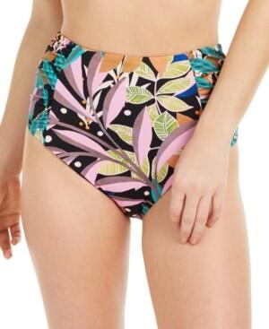 Bar III Hidden Jungle Printed High-Waist Bikini Bottoms, Created for Macy's Women's Swimsuit