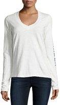 James Perse Long-Sleeve V-Neck Graphic T-Shirt, White