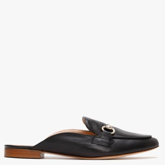 Farringdon Black Leather Backless Loafers