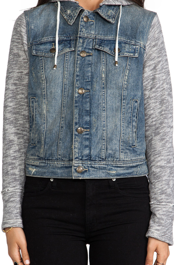 Free People Denim/Knit Hoodie Jacket