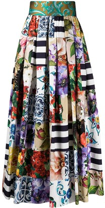 Dolce & Gabbana Patchwork Print Pleated Skirt