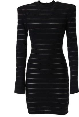 Balmain Rear Zip Striped Fitted Dress