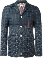 Thom Browne embroidered down blazer - men - Feather Down/Nylon/Cupro - 3