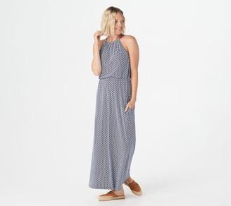 Synergy Wave Print Cinched Waist Maxi Dress