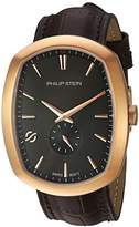 Philip Stein Teslar Men's 'Modern' Swiss Quartz Stainless Steel and Leather Casual Watch
