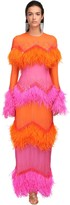 ATTICO The Crepe Dress W/feathers & Sequins