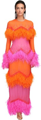 ATTICO Crepe Dress W/Feathers & Sequins