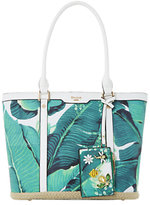 Dune Dalmie Oversized Palm Print Canvas Shopper Bag, Green