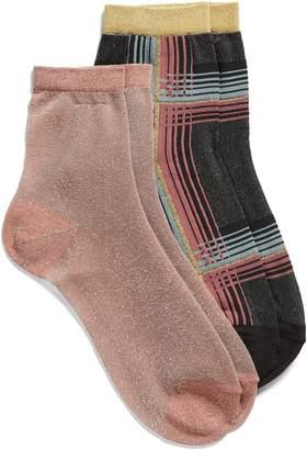Halogen x Atlantic-Pacific 2-Pack Metallic Ankle Socks