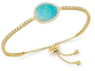 Meira T 14K Yellow Gold Diamond & Opal Bolo Bracelet