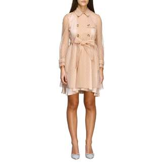 RED Valentino Short Trench Coat In Point D'esprit Tulle