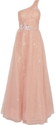 Marchesa One-shoulder Embellished Pleated Tulle Gown