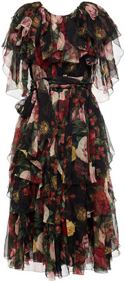 Dolce & Gabbana Tiered Belted Floral-print Silk-voile Dress