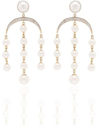 Mateo 14Kt gold pearl and diamond earrings