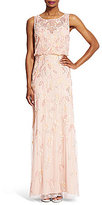 Adrianna Papell Petite 3-D Applique Beaded Gown