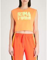 FENTY PUMA by Rihanna Logo-print cotton-blend cropped top