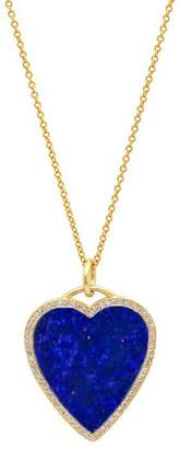 Jennifer Meyer 18k Lapis Heart Necklace with Diamonds