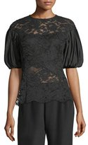 Rickie Freeman For Teri Jon Taffeta Puff-Sleeve Lace Top