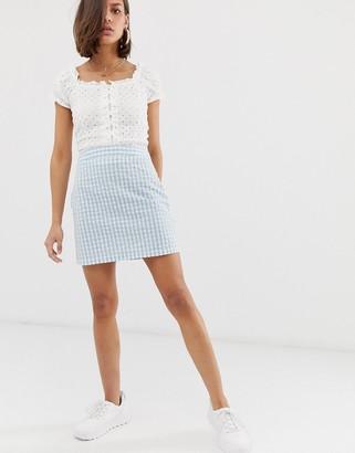 Noisy May gingham mini skirt