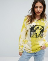 Obey Bleached Boyfriend Long Sleeve T-Shirt With Front Box Graphic