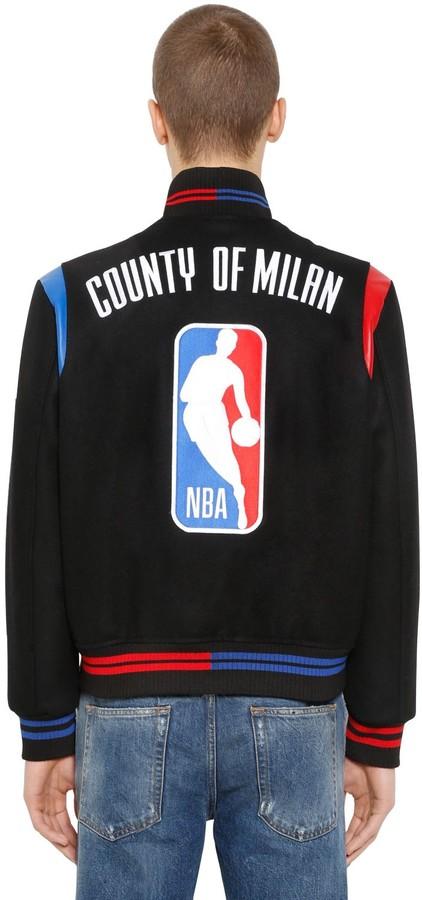 Marcelo Burlon County of Milan Nba Wool Cloth Bomber Jacket