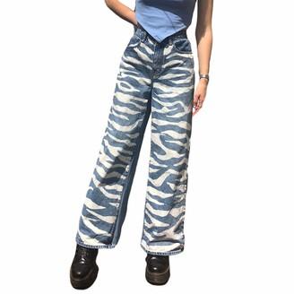 FeMereina Women High Waist Loose Cargo Jeans Vintage Straight Wide Leg Denim Pants Zebra Printed Trousers (Blue S)