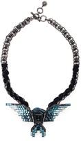 Lanvin burnished brass and swarovski eagle necklace