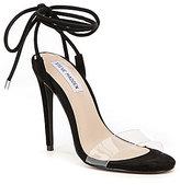 Steve Madden Lyla Suede Clear Strap Ankle Tie Stiletto Dress Sandals