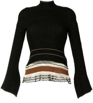 Mame Kurogouchi Ribbed High-Neck Knit Top
