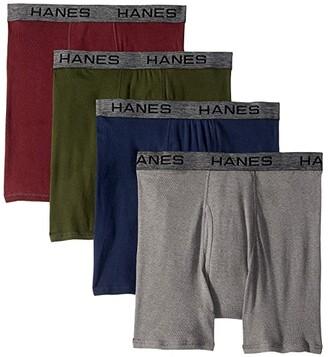 Hanes 4-Pack Core Cotton Platinum Boxer Briefs Seasonal