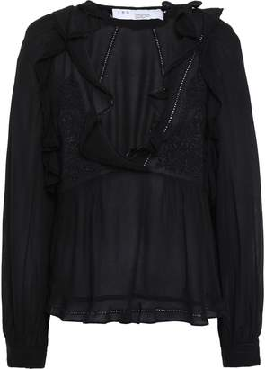 IRO Ruffled Lace-trimmed Crepe De Chine Blouse