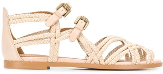 See by Chloe Double-Strap Braided Flat Sandals