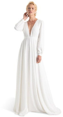 Joanna August Floyd V-Neck Long Sleeve Gown