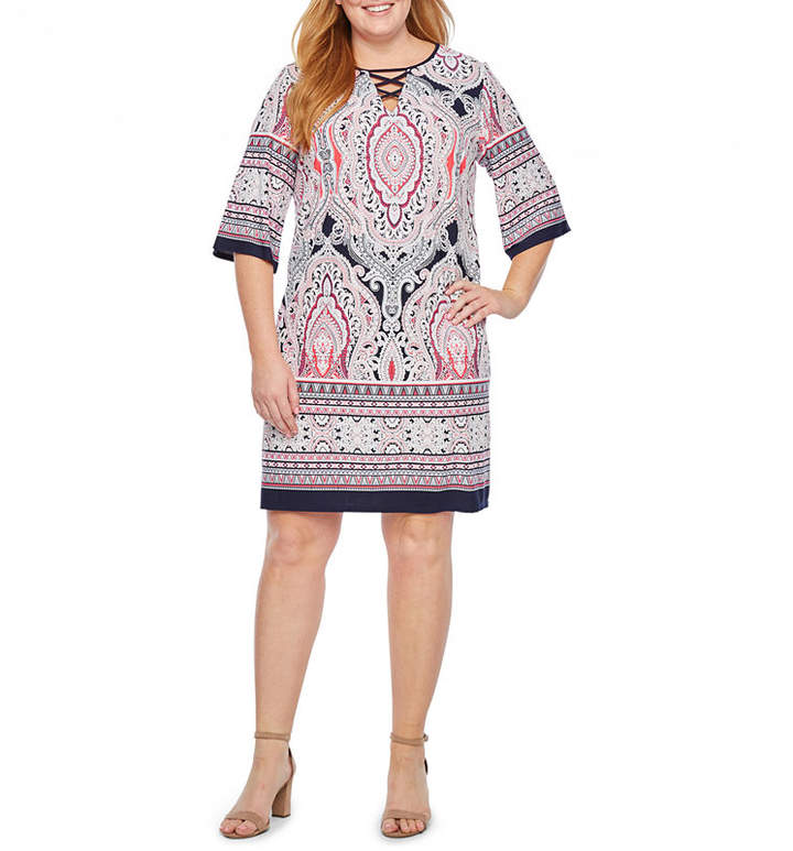 3-4 Sleeve Puff Print Shift Dress-Plus