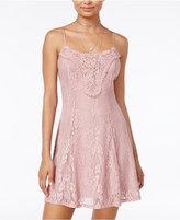 City Triangles Juniors' Crochet Lace Slip Dress