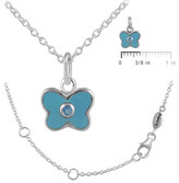 Ice 12-18 In Kids' Silver December Birthstone Butterfly Necklace For Girls