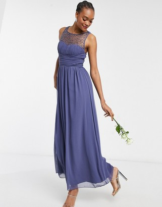 Little Mistress Bridesmaid chiffon maxi dress with pearl embellishment in lavender grey