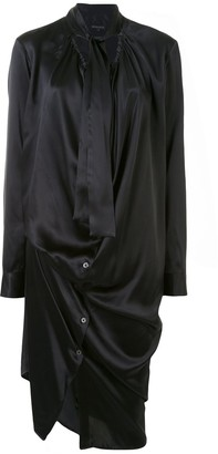 Ann Demeulemeester Draped Tie-Neck Shirt Dress