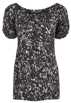 Dorothy Perkins Womens Tall Black Abstract Print Gypsy Top, Black