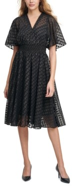 Calvin Klein Clip-Dot Chiffon A-Line Dress