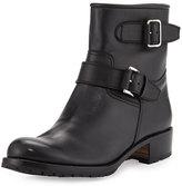 Gravati Two-Strap Leather Moto Boot, Black