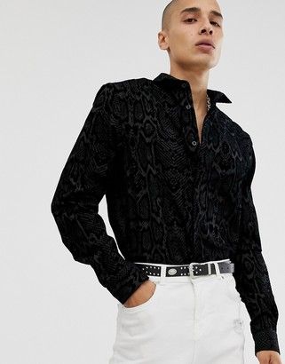 Twisted Tailor super skinny shirt with snakeskin flocking in black