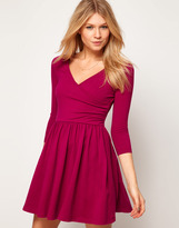 Asos Skater Dress With Ballet Wrap and 3/4 Sleeve