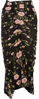 Preen by Thornton Bregazzi Clio Ruched Floral-print Stretch-crepe De Chine Midi Skirt - Black
