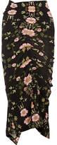 Preen by Thornton Bregazzi Clio Ruched Floral-print Stretch-crepe De Chine Midi Skirt