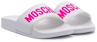 MOSCHINO BAMBINO TEEN logo printed slides