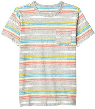crewcuts by J.Crew Short Sleeve Rainbow Stripe Tee (Toddler/Little Kids/Big Kids) (Grey Multi) Boy's Clothing