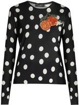 Dolce & Gabbana Orange-appliqué polka-dot silk top